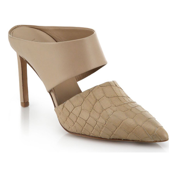 VINCE Corinne leather and snake-embossed leather mule pumps - These sleek, modern-minimalist mule pumps take a texturally...