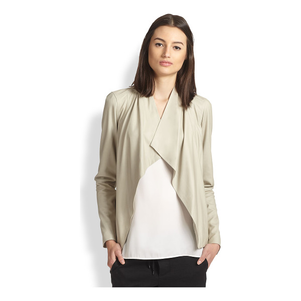 VINCE Draped leather jacket - Luxe lambskin leather in a beautifully draped silhouette....