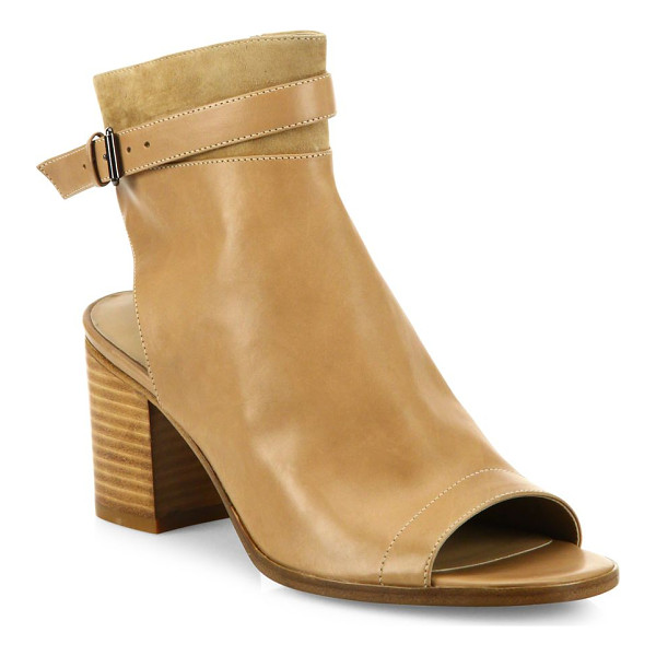 VINCE jane leather peep-toe block-heel booties - Suede-trim leather peep-toe bootie with ankle strap....