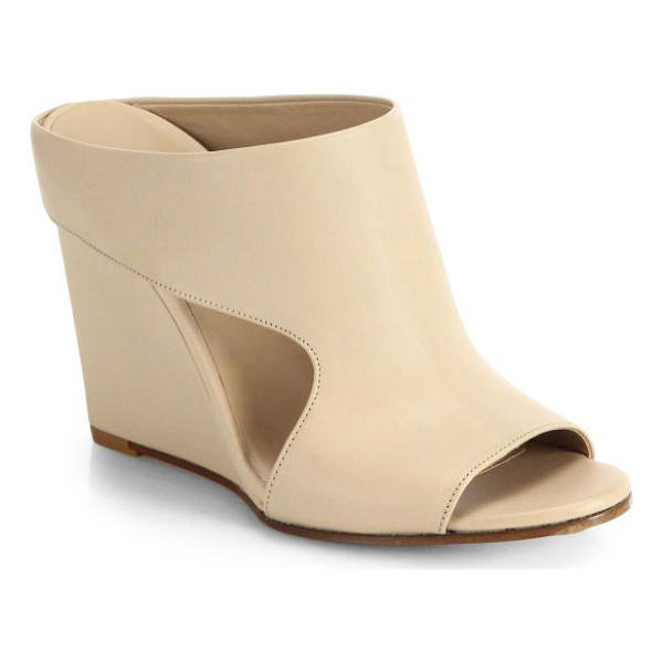 VINCE Kaya cutout leather slides - Elevated by a sleek wedge, this open-toe design is rendered...