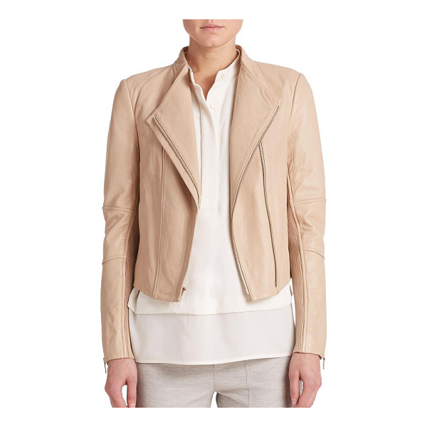 VINCE Leather moto jacket - Tonal topstitching and bold zip details lend effortless...