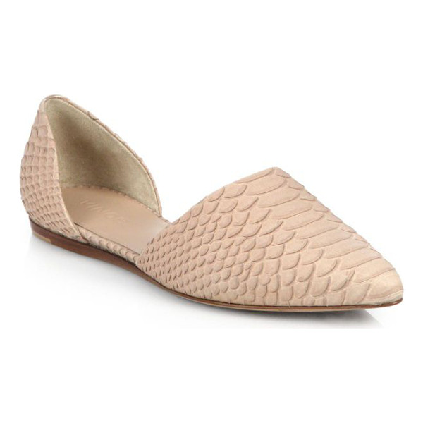 VINCE Nina snake-embossed leather d'orsay flats - A most-loved Vince signature, these d'Orsay slip-on flats...