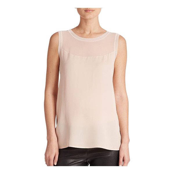 VINCE Sheer-inset sleeveless top - A sheer inset highlights the yoke of this sleeveless top,...
