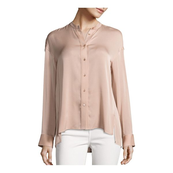 VINCE solid pintuck blouse - Pintuck detail highlights this silk blend blouse. Mandarin...