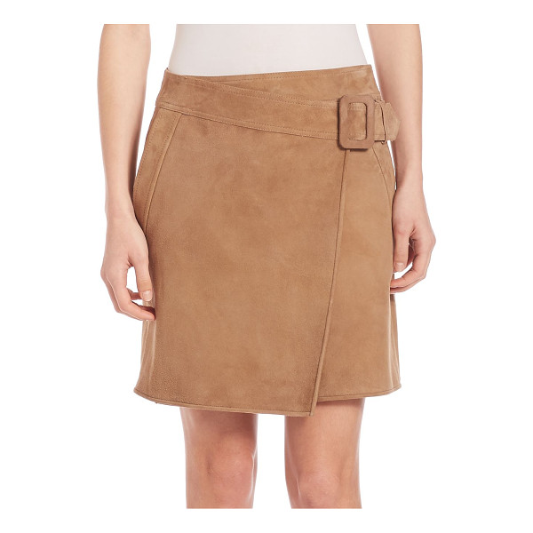 VINCE suede asymmetrical belted skirt - Retro-inspired suede skirt with wrap-style front. Belted...