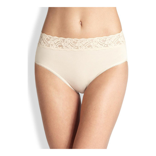 WACOAL cotton suede high-cut brief - A stretch lace waistband lends feminine comfort to this...