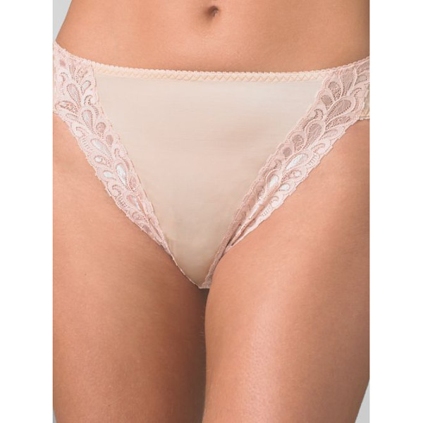 WACOAL bodysuede hi-cut brief - High-cut panty with stretch lace accents lays smooth and...