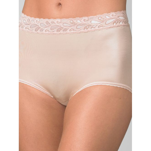 WACOAL lace-trim high-cut panty - Full coverage stretch panty with lace trim sits high on the...