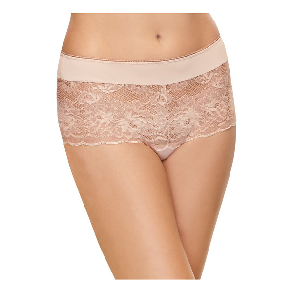 WACOAL mesh lace panty - Lace panty with embroidered floral and scalloped details....