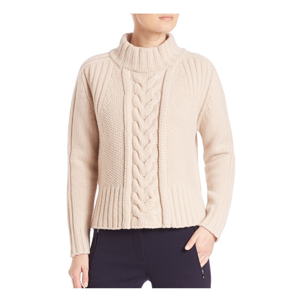 WEEKEND MAX MARA dingo virgin wool cable-knit sweater - Virgin wool mockneck sweater with cable-knit front....