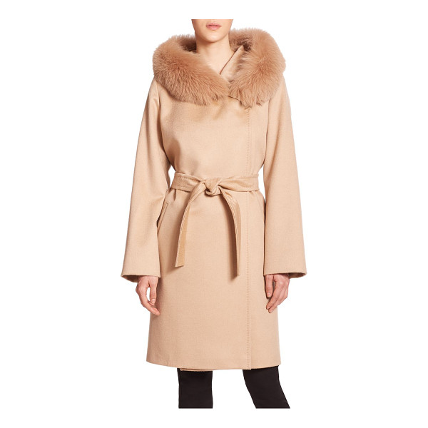 WEEKEND MAX MARA Lallo fur-trimmed cashmere coat - Lush fox fur heightens the elegance and warmth of this...