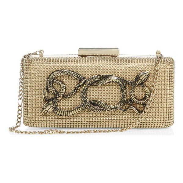 WHITING & DAVIS serpents goldtone convertible minaudiere - Dazzling mesh minaudiere with edgy snake accents. Shoulder