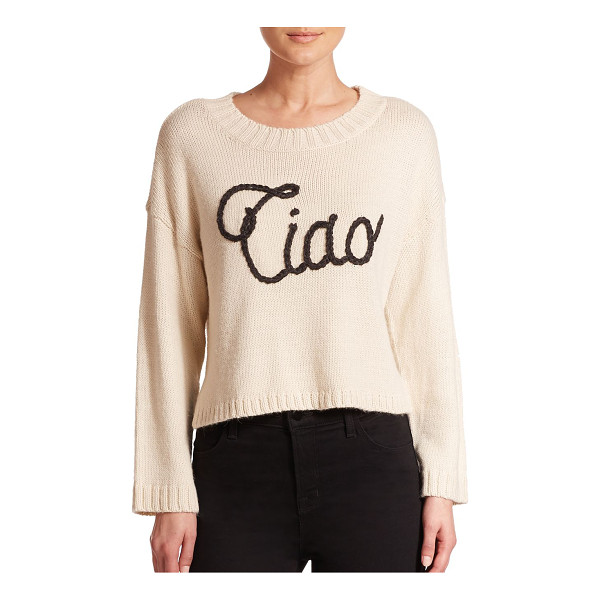 WILDFOX Ciao bella sweater - An Italian greeting goes graphic and adds textural...
