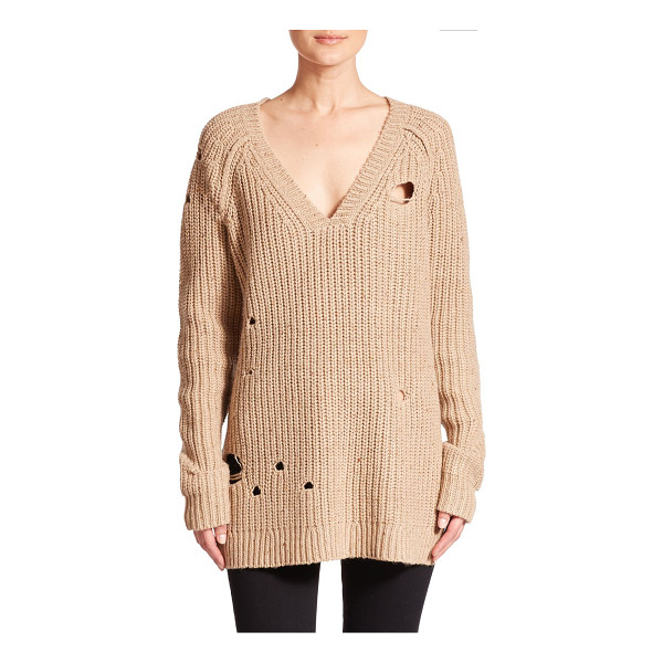 WILDFOX Dusk distressed knit tunic sweater - Chunky-knit sweater with shredded detailRibbed v-neck,...