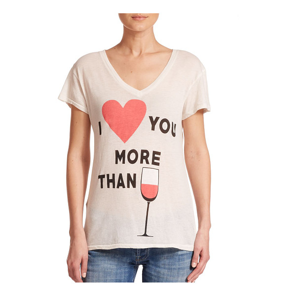 WILDFOX I love you more than wine printed tee - Cotton-blend tee with playful wine motifV-neckDrop...