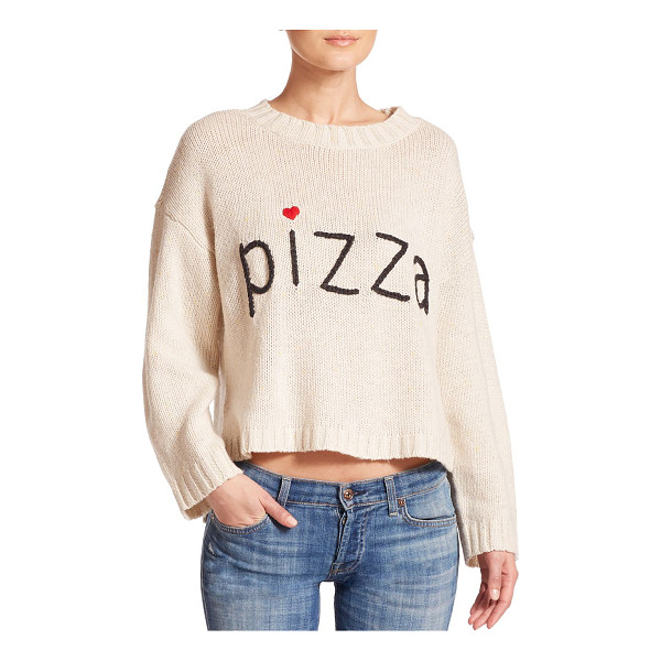 """WILDFOX Pizza cropped sweater - Cropped sweater with chic """"Pizza"""" embroideryRibbed..."""