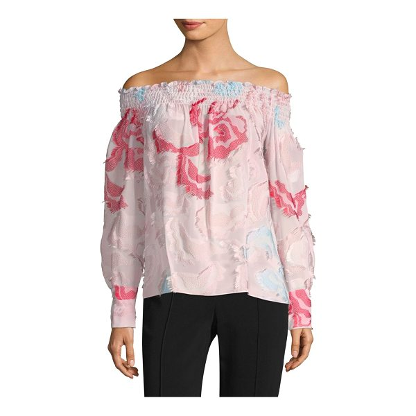 YIGAL AZROUEL smocked off-the-shoulder floral blouse - Flocked florals cover romantic smocked blouse....
