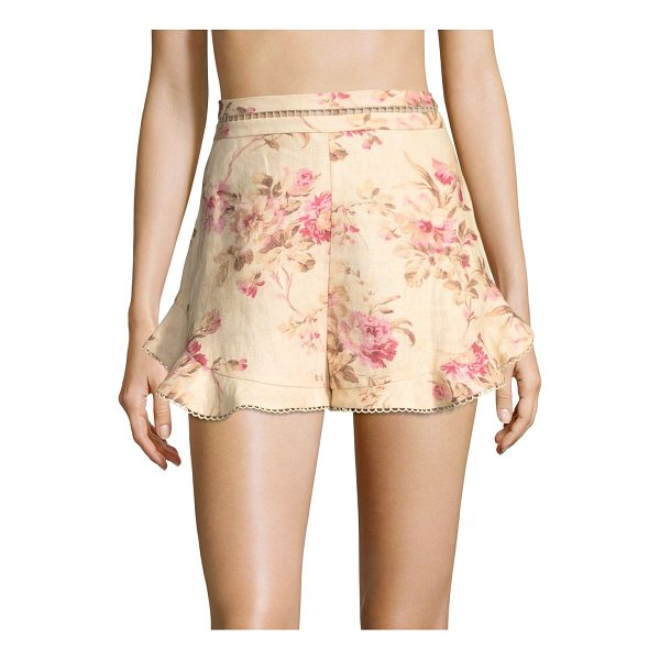 ZIMMERMANN flutter linen shorts - Floral linen shorts updated with a picot trim. Banded...