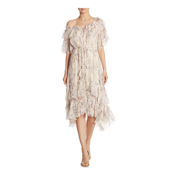 ZIMMERMANN paradiso floral one-shoulder silk dress - EXCLUSIVELY AT SAKS FIFTH AVENUE. Romantic ruffles elevate...