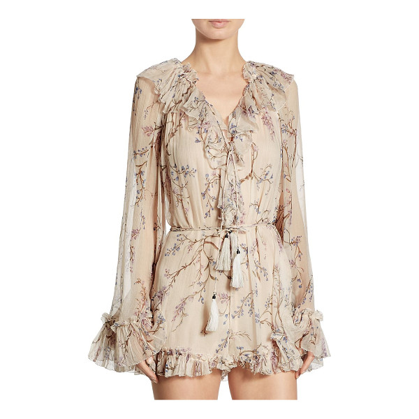 ZIMMERMANN paradiso ruffled floral-print silk romper - EXCLUSIVELY AT SAKS FIFTH AVENUE. Light-as-air silk floral...