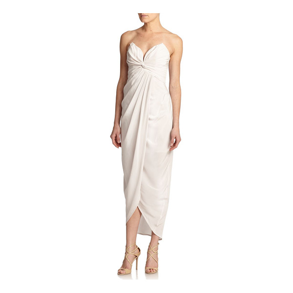 ZIMMERMANN Tell me seer strapless pleated silk gown - A subtle twist shapes the pleated silhouette of this...