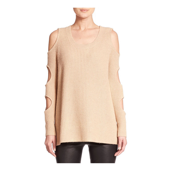 ZOE JORDAN galileo wool & cashmere cutout sweater - Circular cutouts along the sleeves lend a provocative touch...