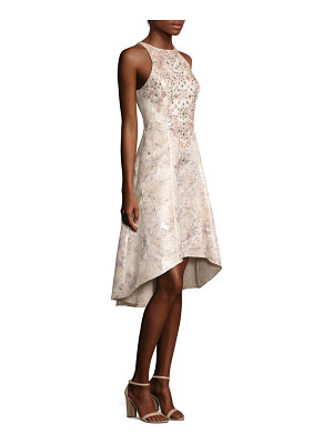 AIDAN MATTOX Beaded Brocade Hi-Lo Dress