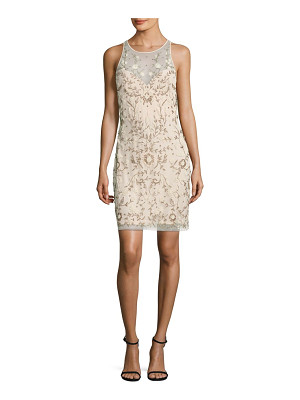 Aidan Mattox beaded illusion sheath dress