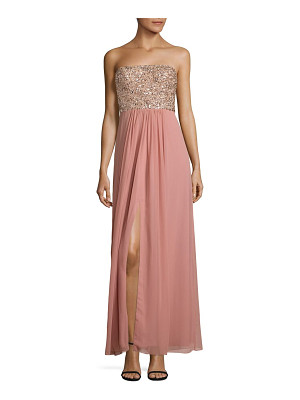 AIDAN MATTOX Beaded Strapless Gown