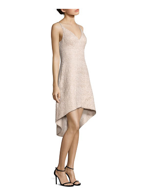 Aidan Mattox jacquard fit-&-flare hi-lo dress