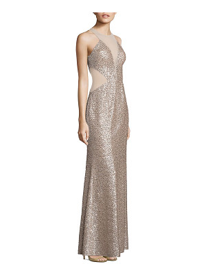 Aidan Mattox sequin illusion cutout gown
