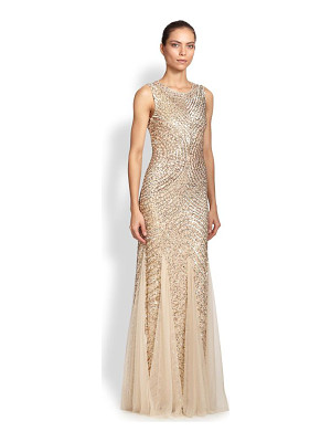 Aidan Mattox sequined godet gown