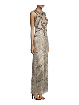 Aidan Mattox sleeveless beaded fringe gown
