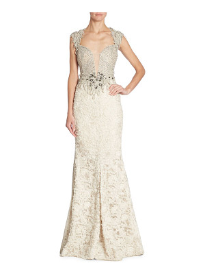 Alberto Makali embellished lace gown
