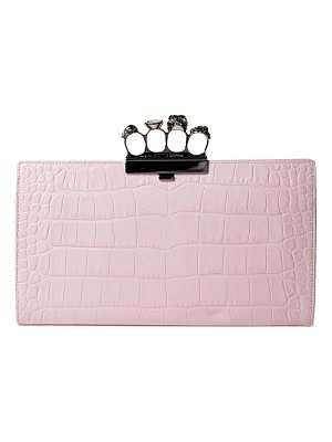 Alexander McQueen crocodile-embossed knuckle flat leather clutch