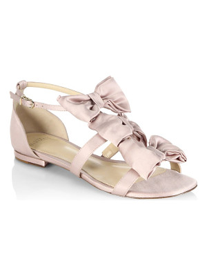 Alexandre Birman cori triple bow satin flat sandals