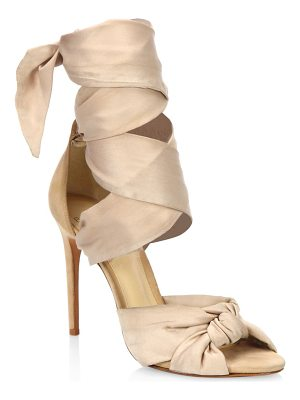 ALEXANDRE BIRMAN Katherine Silk Ankle-Wrap Sandals
