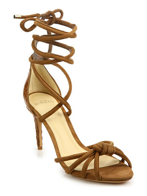 ALEXANDRE BIRMAN Lanna Suede & Crocodile Ankle-Wrap Sandals
