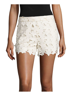 Alice + Olivia amaris faux leather & lace shorts