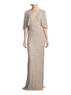 Alice + Olivia krystina embellished cape gown