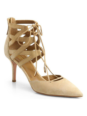 Aquazzura belgravia suede lace-up pumps
