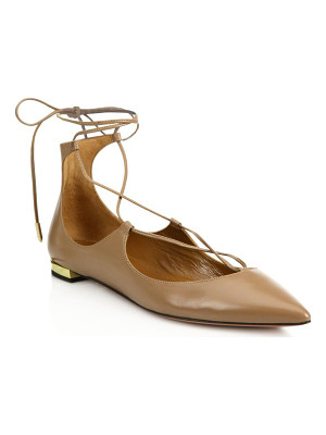 AQUAZZURA Christy Leather Lace-Up Flats