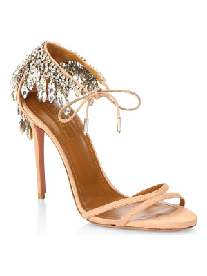 AQUAZZURA Eden Embellished Suede Stiletto Heel Sandals