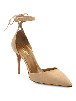 AQUAZZURA Heart Breaker Suede Ankle-Wrap Pumps