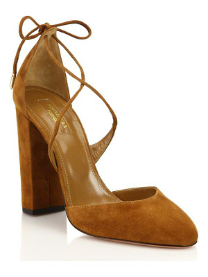 AQUAZZURA Karlie Suede Lace-Up Pumps