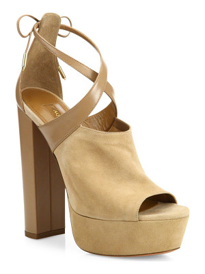 AQUAZZURA Kaya Plateau Suede & Leather Platforms