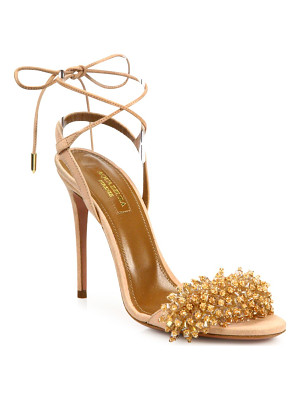Aquazzura monaco crystal & suede sandals