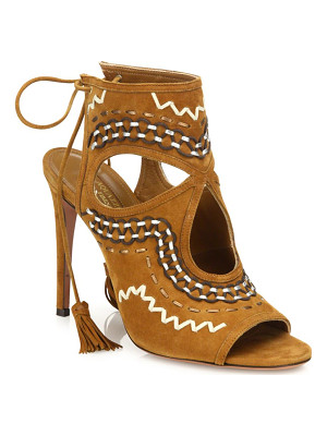 AQUAZZURA Sexy Thing Folk Suede Sandals