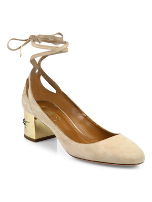 Aquazzura trinity suede ankle-wrap block heel pumps