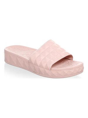 Ash diamond embossed faux leather slides